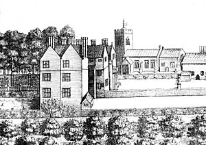 Annesley Hall and church as depicted in Thoroton's History of Nottinghamshire, published in 1677.