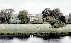 Babworth Hall from the lake, c.1905.