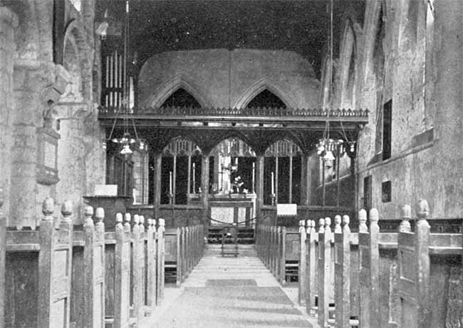 Interior of Blyth church, south aisle, looking east.
