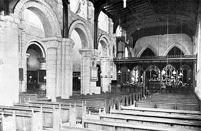 Interior of Blyth church from the south aisle, looking north-east.