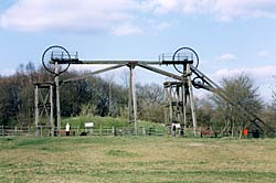 Tandem headstocks on the site of Brinsley Colliery date from 1872. The coal reserves at Brinsley were exhausted by 1930 (photo: A Nicholson, 2003).