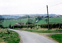 View down Hall Lane, Brinsley. Brinsley Hall is in the centre of the photograph (photo: A Nicholson, 2005).