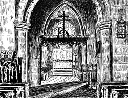 The chancel. Etching by Mrs Bruce.