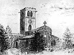 The nave and tower. Etching by Mrs Bruce.