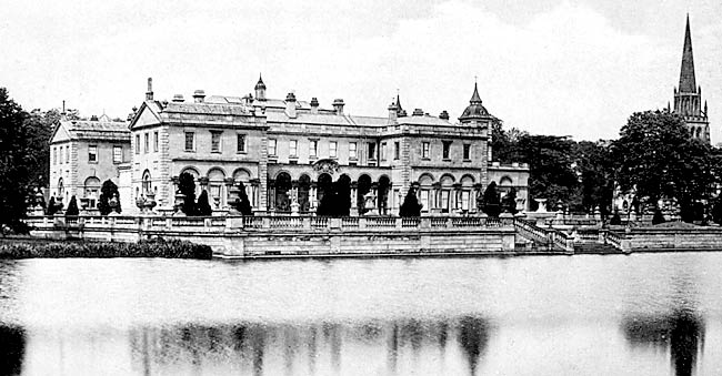 Clumber House and church from the lake (c.1910).