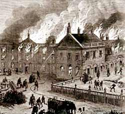 Clumber House on fire in March 1879