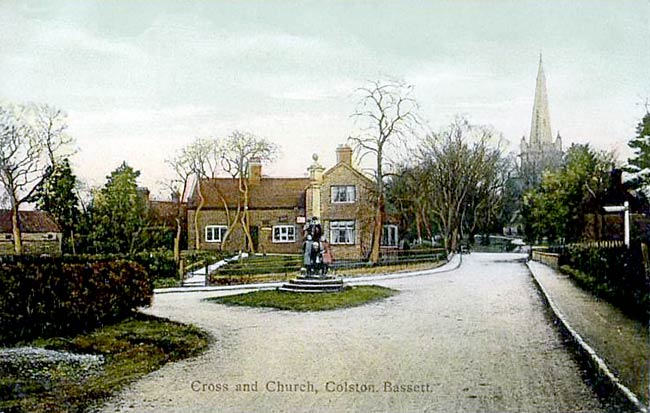 The old cross at the junction of Hall Lane, School Lane and Church Lane, Colston Bassett, c.1905.