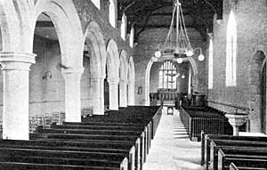 Interior of St Mary's church, Cuckney in 1914.