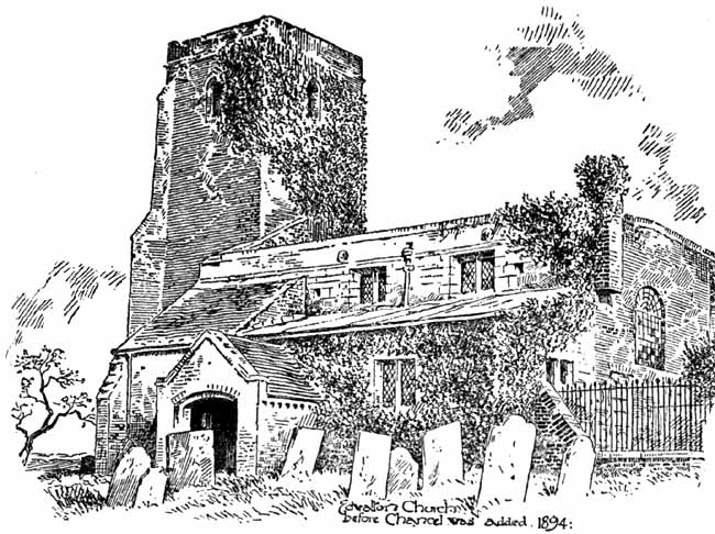 Edwalton church before chancel was added, 1894.