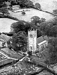 The Church, Vicarage, Verger's house and Church Hall as seen from the air.