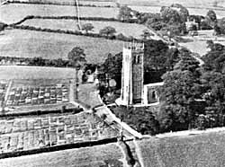 The church, vicarage and surrounding fields.
