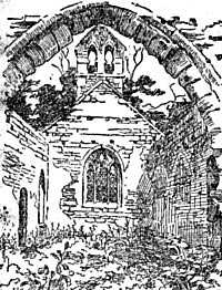 Sketch of the ruins of Haughton Chapel in 1907.