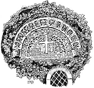 The tympanum at Hawksworth church in the 1890s.