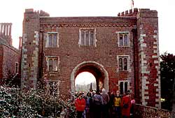 The brick gatehouse at Hodsock Priory