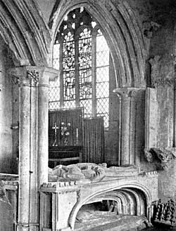 Tomb and east windows before restoration.