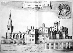 Sketch based on engraving in Thoroton's History of Nottinghamshire showing the hall and church as they appeared in the 1670s.