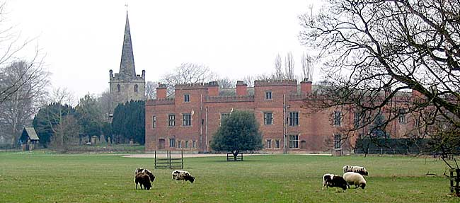 Holme Pierrepont Hall and church in 2004.