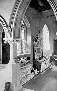 Pierrepont monuments in the church, c.1900.
