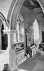 Pierrepont monuments in the south aisle of Holme Pierrepont church.
