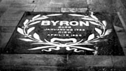 The Byron Slab in the Chancel floor, the gift of the King of Greece.