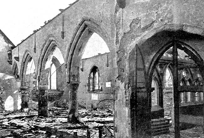Interior of Kirkby-in-Ashfield church after the disastrous fire of 1907.