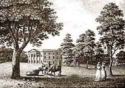 The Georgianised west front of Langar Hall with its pedimented portico and six Ionic pillars as it looked in the 1790s. Most of this building was dismantled in the 1820s and replaced with the present plain, stuccoed house in 1828.