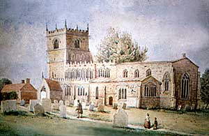 Laxton church before the restoration of 1861.