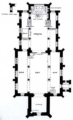 Ground plan of Laxton church.