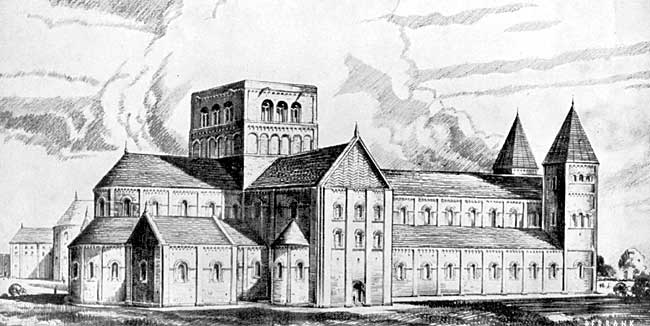 Reconstruction drawing of Lenton Priory.