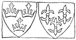 Carved shields of arms.