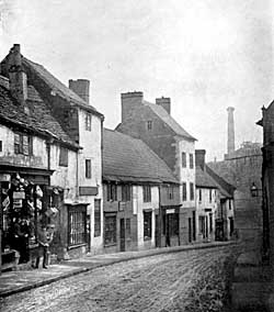 PLATE XIII. Kirkgate. Shops built on the Garden attached to the Mansion belonging to the Southwell Chantrey Priests and for four Centuries leased by the Vicar and Churchwardens of Mansfield.