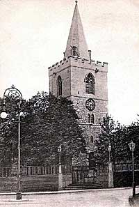 The Norman tower of St Peter's church, Mansfield