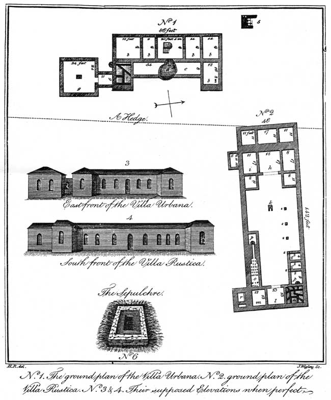 Plan of the Roman villa near Mansfield Woodhouse published in William Harrod's 'The History of MAnsfield and it's Environs' (1801).
