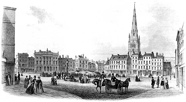 Newark market place in the mid-19th century.