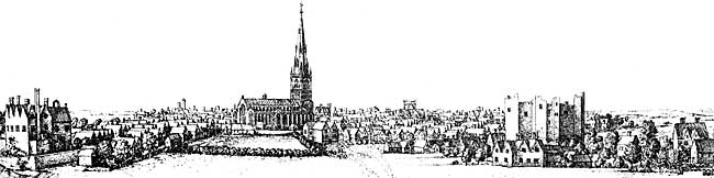 A panorama of Newark-on-Trent from 1676.
