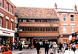 The late 15th century front of the Old White Hart in Newark Market Place