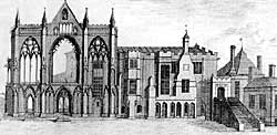 The same view of the west front as recorded by Samuel Buck, c. 1720.