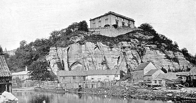 The ruins of Nottingham Castle, c.1870.