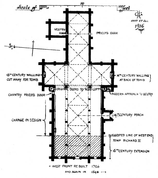 Plan of St Mary's church, Nottingham.