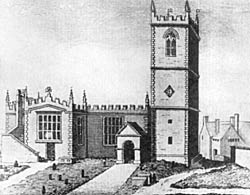 Fig. 5. Deering's view of St. Nicholas Church from the north, published in 1751, and showing the church before the addition of the north aisle in 1783.