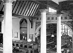 Fig. 7. Interior of St. Nicholas' Church, Nottingham, showing the graceful chancel-arch and the roof over the nave set up in 1848.