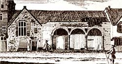 The dilapidated County (Shire) Hall on High Pavement in the mid-18th century.