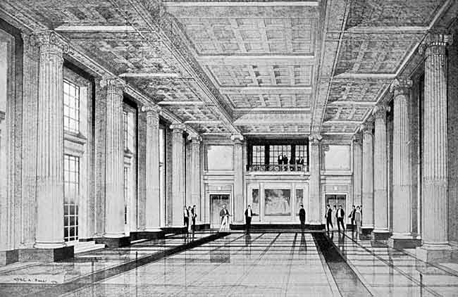 The new Exchange building: reception hall.