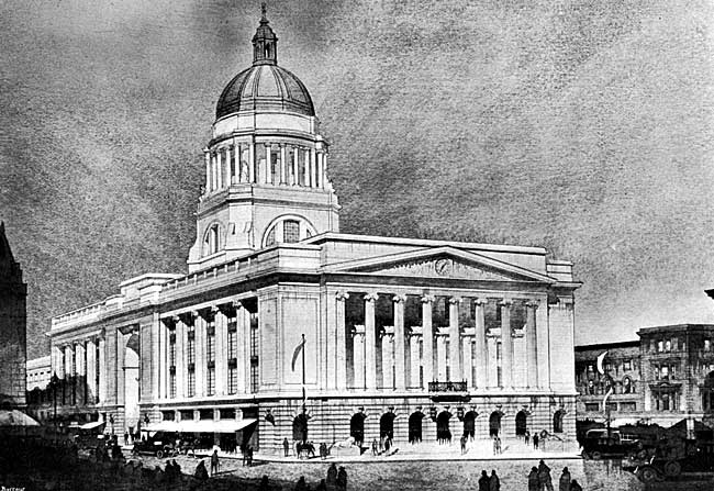 The new Exchange building, Nottingham, as it will appear when completed. [From a drawing by courtesy of the architect, Major T. Cecil Howitt, D.S.O., A.R.I.B.A.).