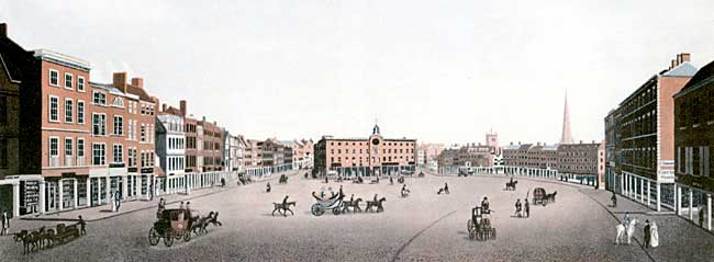 The Market Place in the early 19th century.