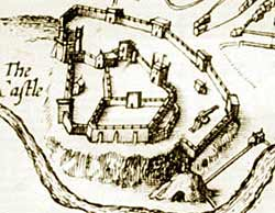 Nottingham Castle as depicted on John Speed's map of Nottingham, 1615.