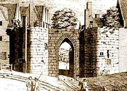 Nottingham's town wall: the medieval Chapel Bar, demolished in 1743.