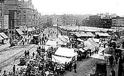 The market place, Nottingham in 1905.