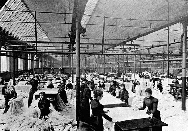 A Lace Curtain Mending Room at the Glasgow Works.
