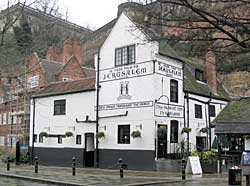 The Old Trip to Jerusalem pub overshadowed by Nottingham Castle (A Nicholson, 2004).